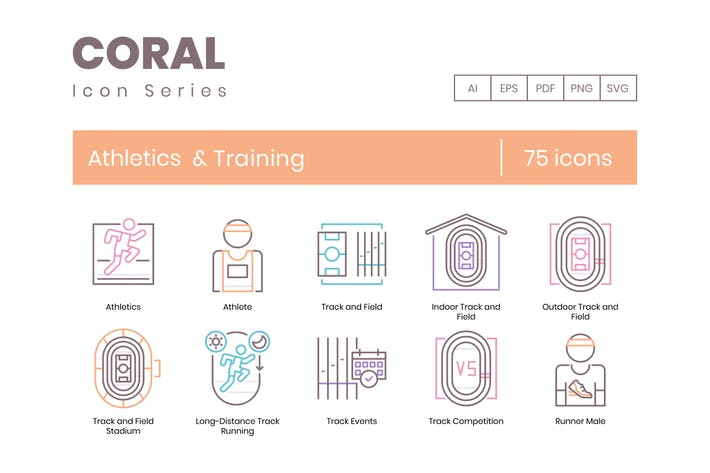 Thumbnail for 75 Athletics & Training Line Icons