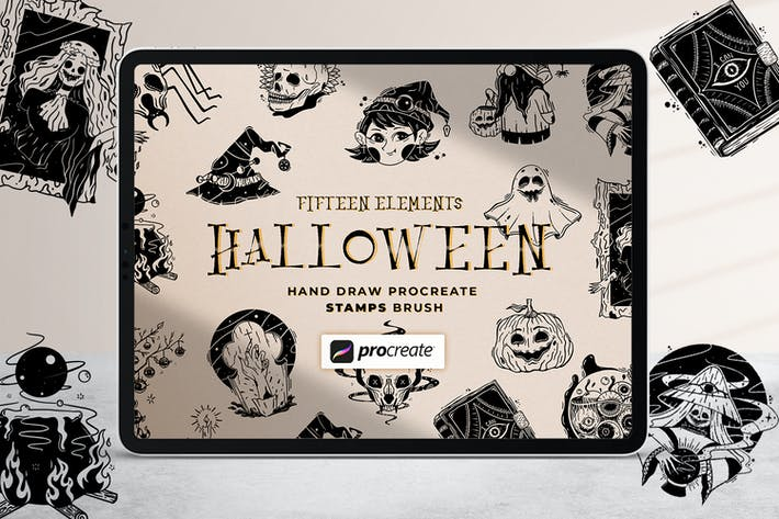 Thumbnail for Хэллоуин Иллюстрация Штамп Кисть