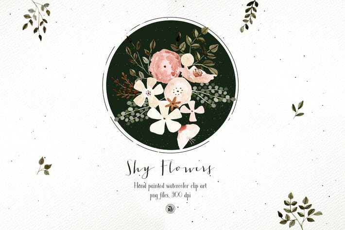 Shy Flowers - watercolor floral clipart