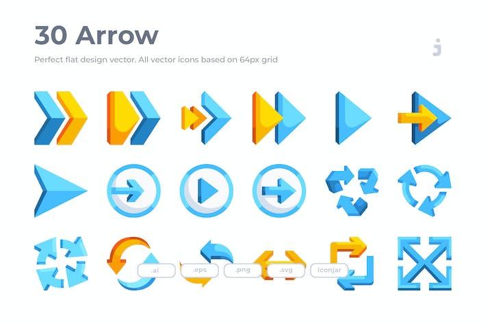 Thumbnail for 30 Arrow Icons - Flat