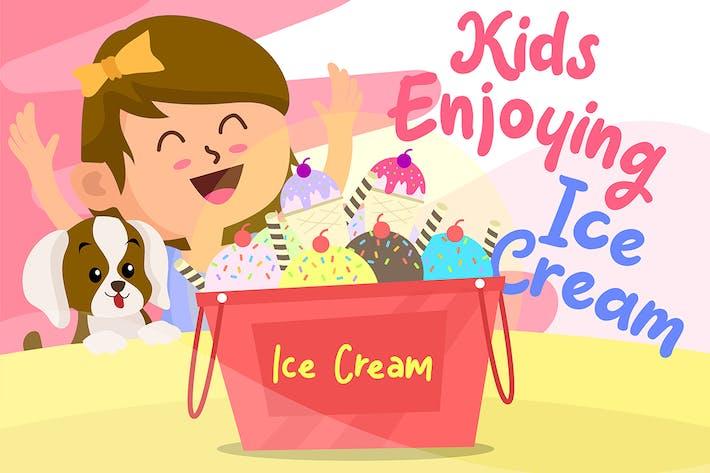 Thumbnail for Girl Ice Cream - Vector Illustration