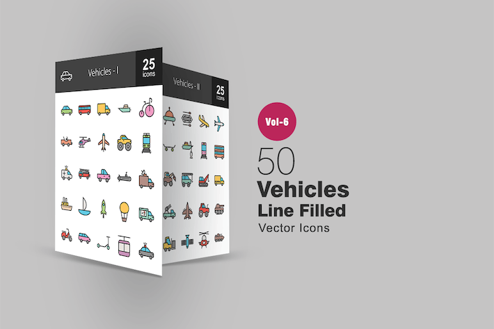 Thumbnail for 50 Vehicles Filled Line Icons