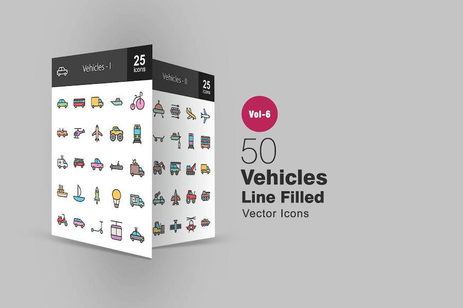 50 Fahrzeuge gefüllte Linie Icons