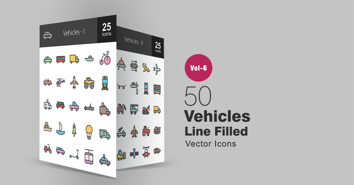 Download 50 Vehicles Filled Line Icons by IconBunny