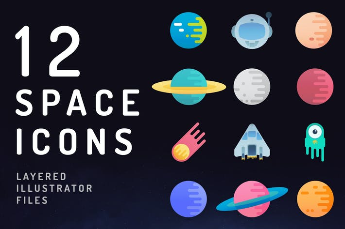 Thumbnail for 12 Vibrant Space Icons