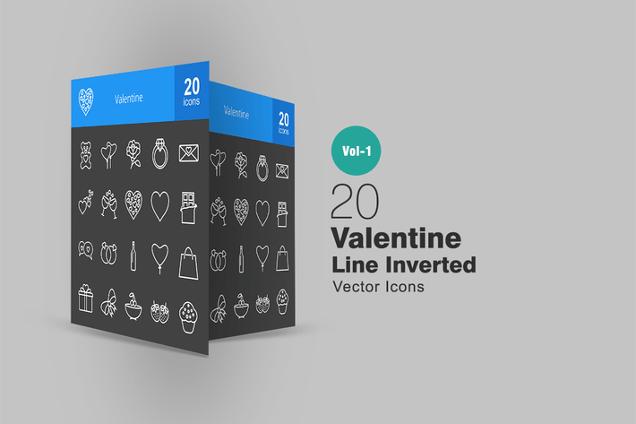 Thumbnail for 20 Valentine Line Inverted Icons