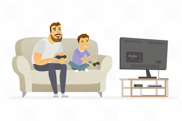 Thumbnail for Father and son playing games - vector illustration