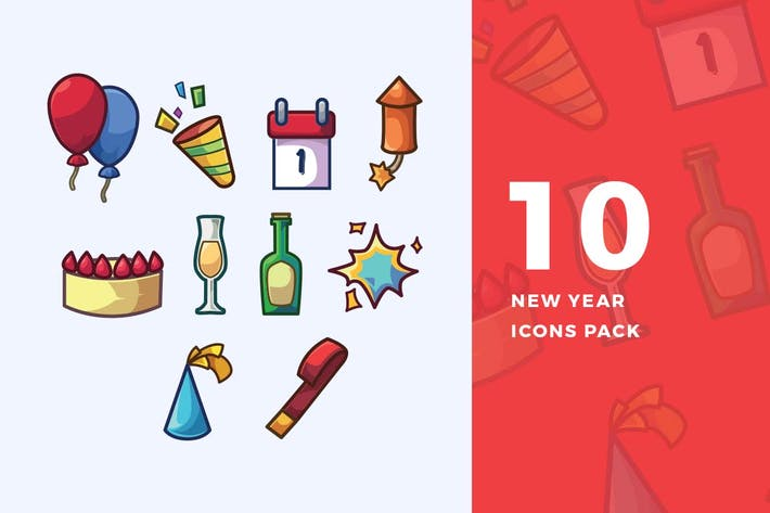 Thumbnail for 10 New Year Icons Pack
