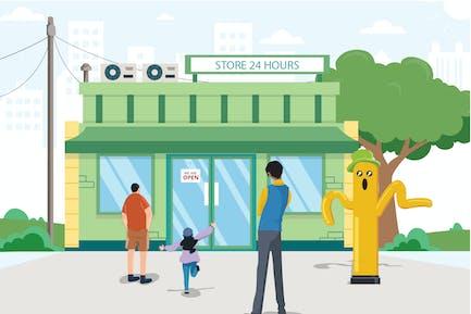 Ilustración de la actividad del supermercado