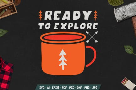 Camping Badge with Mug and Text. Vintage Emblem