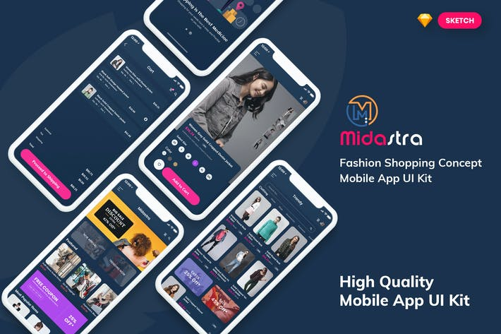 Thumbnail for Midastra-Fashion Shopping MobileApp Dark (SKETCH)