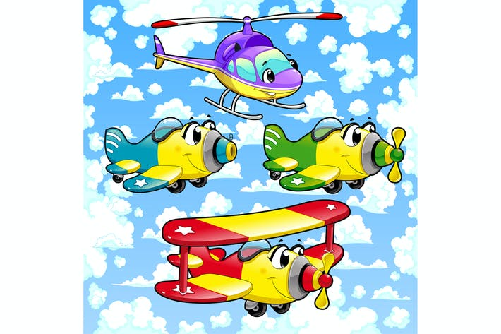 Cartoon Airplanes and Helicopter in the Sky