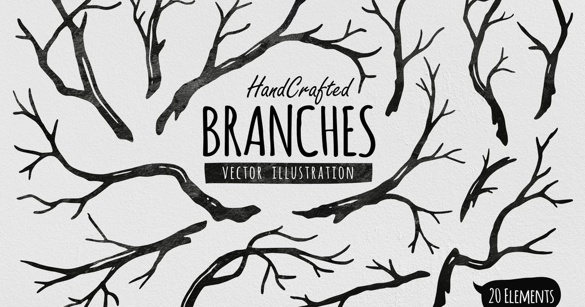 Download Hand Crafted Tree Branches Vector by yandidesigns