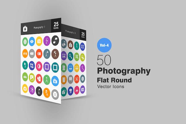 50 Photography Flat Round Icons