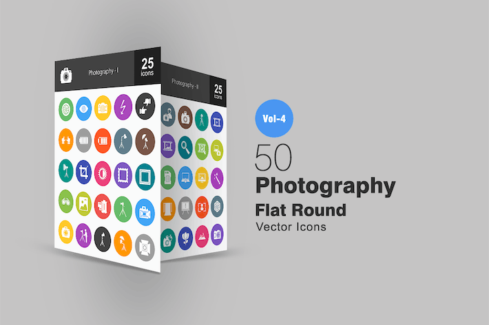 Thumbnail for 50 Photography Flat Round Icons