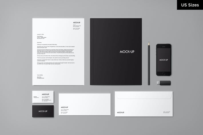 Cover Image For Stationery Mock-up - US Sizes