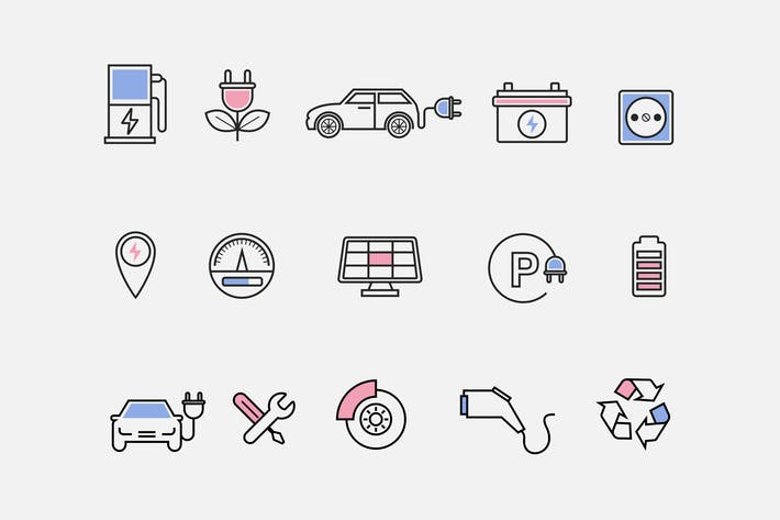 Thumbnail for 15 Electric Car Icons