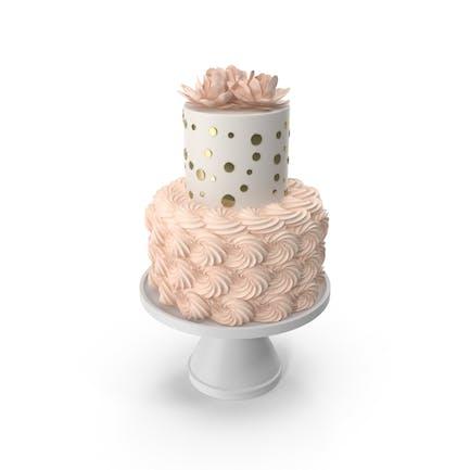 Pastel con flores rosadas