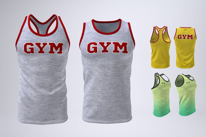 Thumbnail for Men's Gym Tank Top Mock-Up