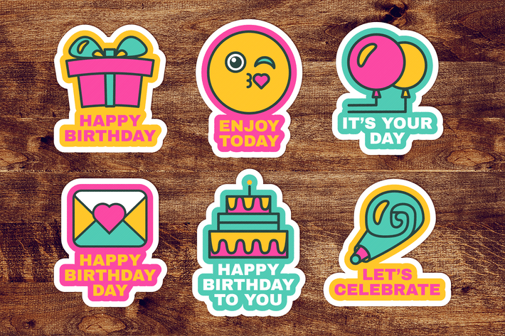 Thumbnail for Happy Birthday Labels Set