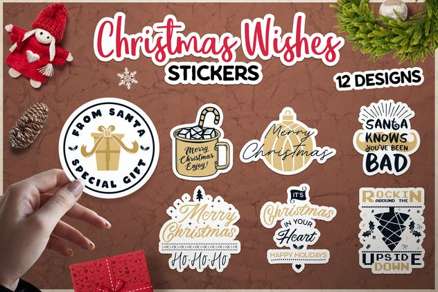 Christmas Wish Stickers Bundle Vector Xmas Labels