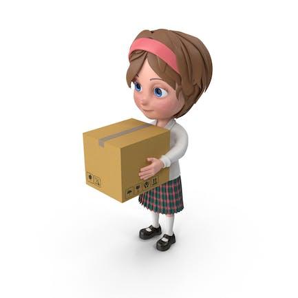 Cartoon Girl Meghan Carrying A Box