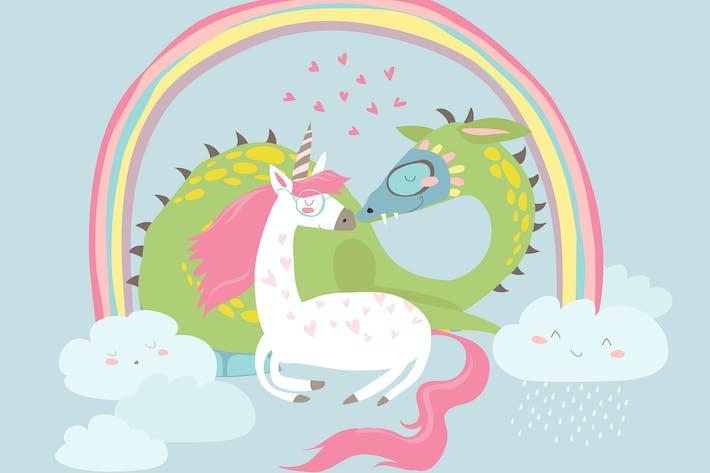Thumbnail for Cute cartoon dragon with unicorn. Vector