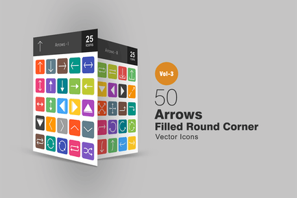 50 Arrows Flat Round Corner Icons