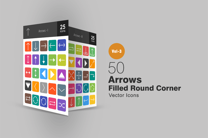 50 Arrows Flat Round Corner Icons