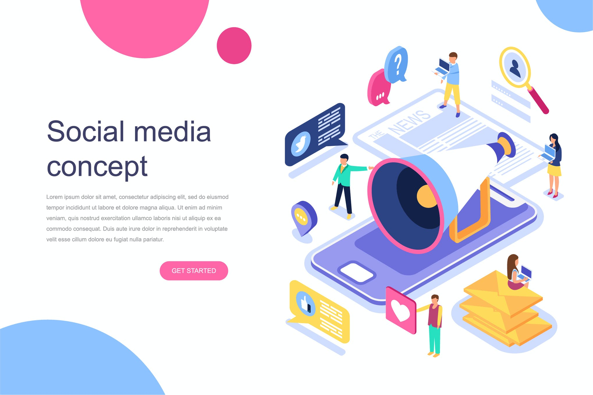 Social Media Isometric Concept By Alexdndz On Envato Elements