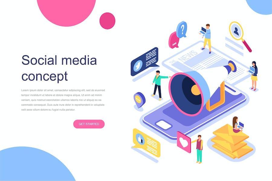 Concept isométrique des médias sociaux