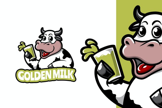 Golden Milk - Mascot Logo Template