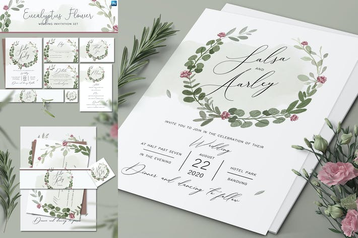 Thumbnail for Set d'invitation de mariage fleur d'eucalyptus
