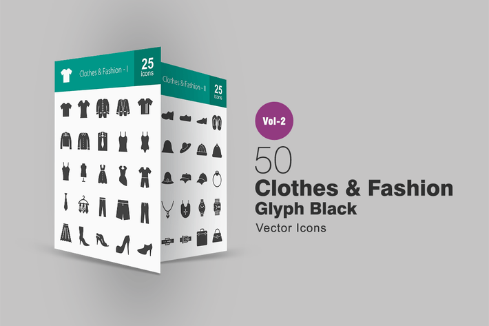 Thumbnail for 50 Clothes & Fashion Glyph Icons