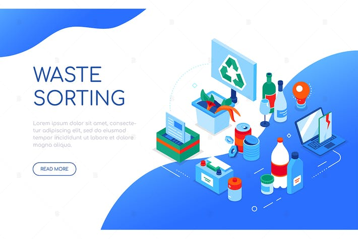 Thumbnail for Waste sorting - colorful isometric web banner