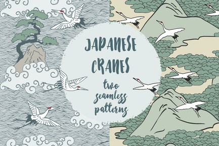 Japanische Krane - Zwei handgezeichnete nahtlose Muster