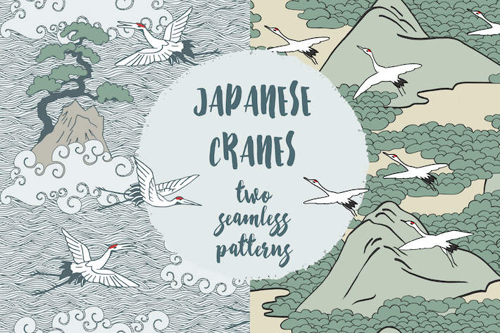 Thumbnail for Japanese Cranes - Two Hand Drawn Seamless Pattern