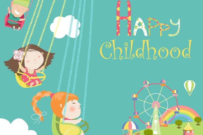 Thumbnail for Children ride on the carousel. Vector illustration