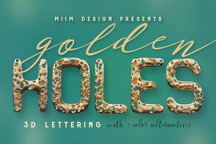 Voller Löcher - Goldener 3D Schriftzug