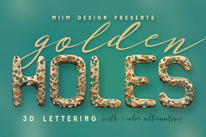 Thumbnail for Full Of Holes - Golden 3D Lettering