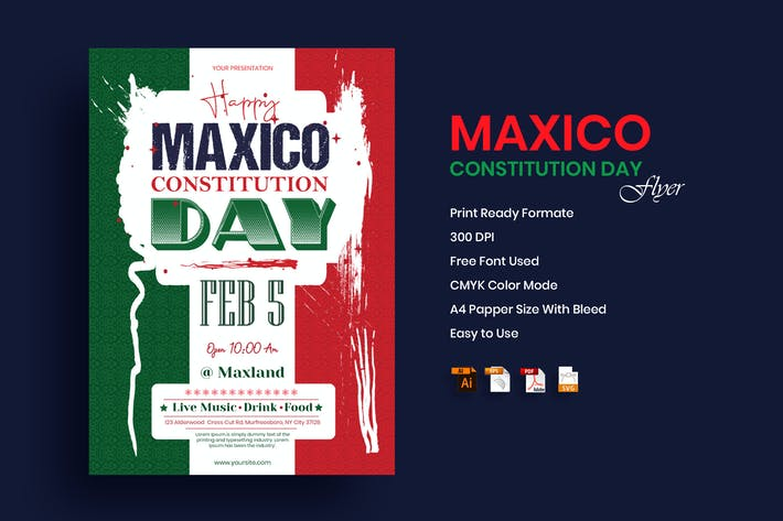 Mexico Constitution Day Flyer Template