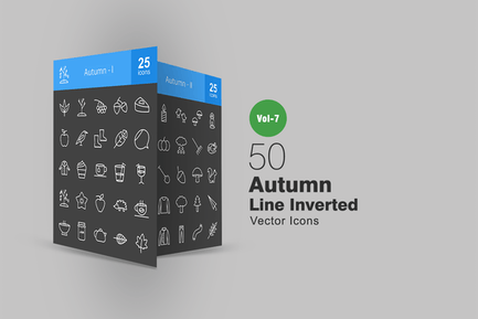 50 Herbst Linie Inverted Icons