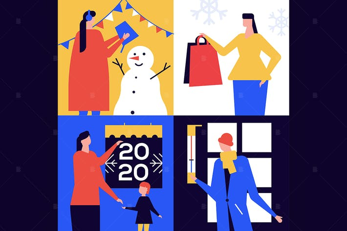 Thumbnail for Winter season leisure time colorful illustrations