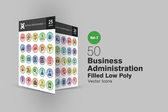 Thumbnail for 50 Business Administration Filled Low Poly Icons
