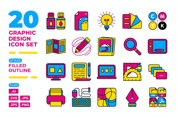 Thumbnail for Graphic Design Icon Set (Filled Outline)
