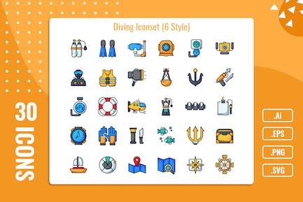 30 Iconset de buceo con variante de 6 estilos