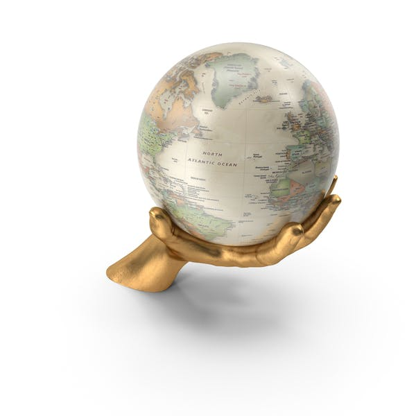 Золотая рука держит винтажный глобус