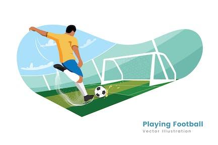 Playing Football Vector Illustrator