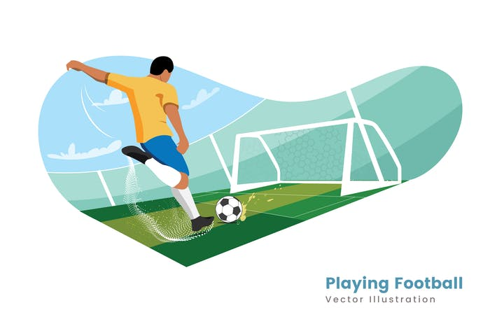 Thumbnail for Playing Football Vector Illustrator