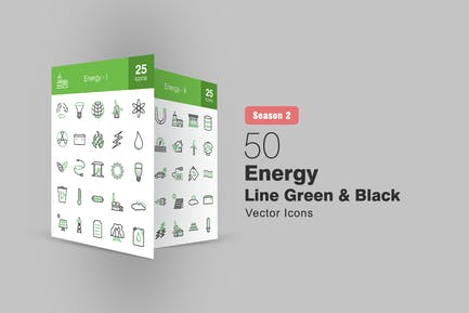 50 Energy Line Green & Black Icons Season II